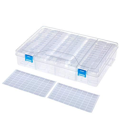 Roeam - Caja de Almacenamiento de plástico Transparente con 112 Compartimentos, con Bordado de Diamantes para Pintar y Decorar, con Etiqueta para Clavos, Brillantes, Perlas, artesanía, 112 Stück