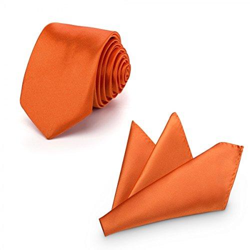 Rusty Bob Rusty Bob - Krawatte mit Einstecktuch (in vielen Farben) - für die Verlobung, die Hochzeit - Schlips mit Taschentuch für das Sakko - 2er-Set - Orange/Apricot