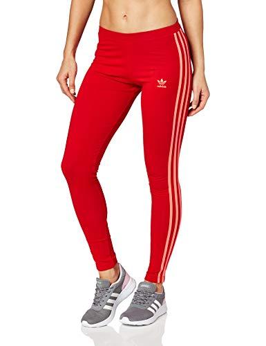 adidas Damen 3-Streifen Tights, Scarlet, 32