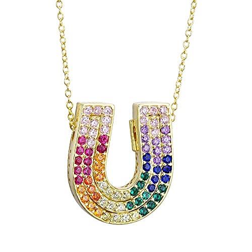 Collar Hombre Personalizado,925 plata esterlina tres colores doble U collar grande gordo colorido arcoíris colgante cadena larga joyería de mujer para