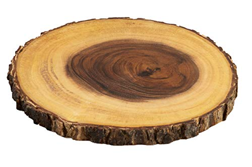 Villa Acacia Live Edge Wood Serving Platter Natural Acacia Wood and Organic Raw Bark Edge Medium