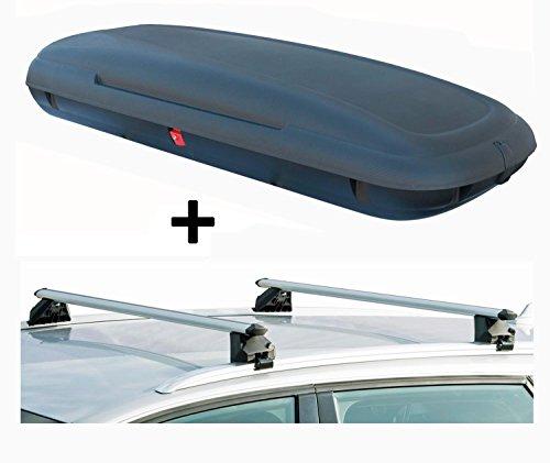 Dachbox VDPCA480 480Ltr carbonlook + Dachträger CRV107 kompatibel mit Skoda Kodiaq (5 Türer) ab 2017