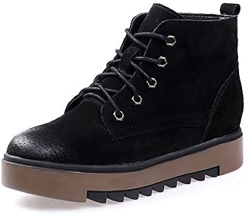 KHSKX-Coréenne Coréenne Les Bottes d'hiver Les Bottes en Cuir Semelles épaisses Augmenté Matte Martin Chaussures