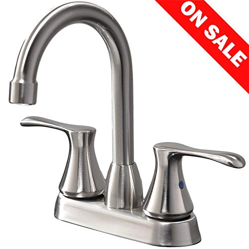IKEBANA Commercial Modern Brushed Nickel 2-Handle Basin Vanity Bathroom Faucet, Bathroom Sink Faucet Without Pop Up Drain and Hot & Cold Water Hose