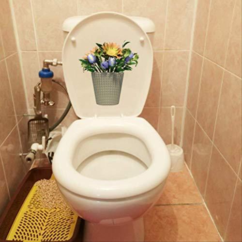 Toilet Sticker 21.3 * 22.8Cm Mooie Porselein Vaas Bloem Woonkamer Muurdecoratie Sticker Thuis