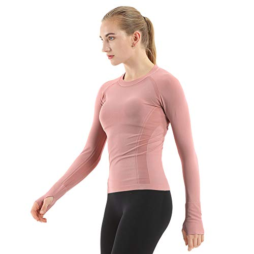 MathCat Seamless Workout Shirts for Women Long Sleeve Yoga Tops Sports Running Shirt Breathable Athletic Top Slim Fit (M, Pink)