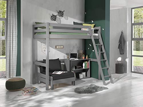 Vipack Cama alta con superficie de descanso de 90 x 200 cm, incluye cama y estantería con dos compartimentos de madera de pino maciza de color gris lacado