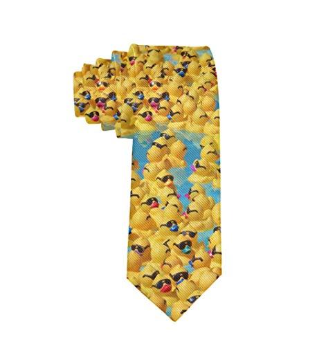 Corbata elegante lindo pato amarillo de goma con gafas de sol corbatas para hombres, niños, negocios formales, traje de fiesta de boda, corbata