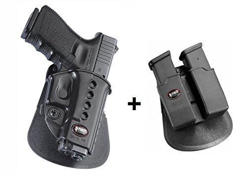 Fobus Pistol Case Paddle 6900 Double Magazine Pouch for Glock 19, 17, 22, 23, 31,32, 34, 35, 41 Walther PK-380