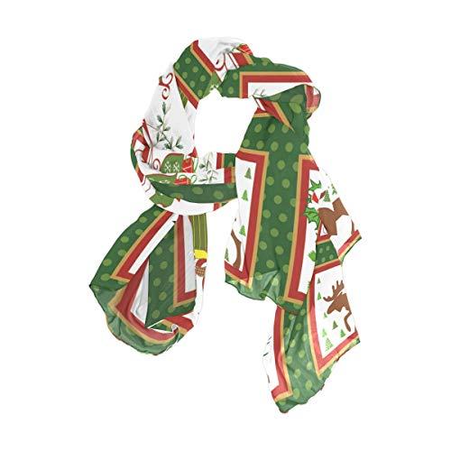 MALPLENA - Bufanda de gasa con impresión navideña para mujer