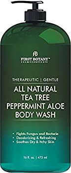 First Botany All Natural Tea Tree Body Wash - Fights Body Odor Athlete's Foot Jock Itch Dandruff Acne Eczema Yeast Infection Shower Gel for Women & Men Peppermint Oil Skin Cleanser 16 oz