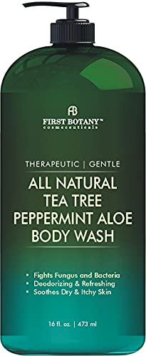 First Botany All Natural Tea Tree Body Wash - Fights Body Odor, Athlete's Foot, Jock Itch, Dandruff, Acne, Eczema, Yeast Infection, Shower Gel for Women & Men, Peppermint Oil Skin Cleanser 16 oz