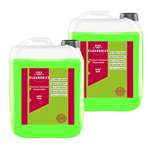 Cleanerist Flüssigwaschmittel Premium Waschmittel mit Apfel-Duft | 2x5 Liter Vollwaschmittel Grosspackung | bis zu 220 Waschladungen color weiß schwarz
