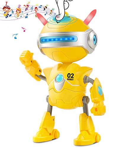 Inncen Repeats Voice Robots for Kids, Interactive Talking Toy Robot with Flashing Lights' Eyes Ears, Smart Educational Robot Sound & Touch Control Dancing Singing Walking Intelligent Robotic Kids Toys