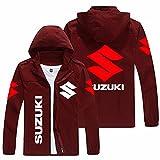 Chaquetas con capucha para hombre, delgadas con cremallera completa, para Suzuki al aire libre, cortavientos a la moda, otoño, con capucha desmontable, color rojo vino, XXL