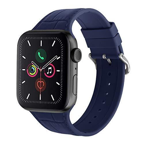 AISPORTS Compatible con Apple Watch Correa 40mm 38mm Silicona para Mujeres Hombres, Deportiva Correa de Repuesto de Pulsera con Hebilla Clásica de Metal para Apple Watch SE/iWatch Series 6/5/4/3/2/1