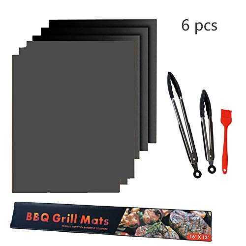 nonbrand BBQ Grill Mat, Non-Stick Cooking Mat for Electric Grill Gas Charcoal BBQ, Best for Outdoor Barbecue Baking and Oven Liner (Set of 6)