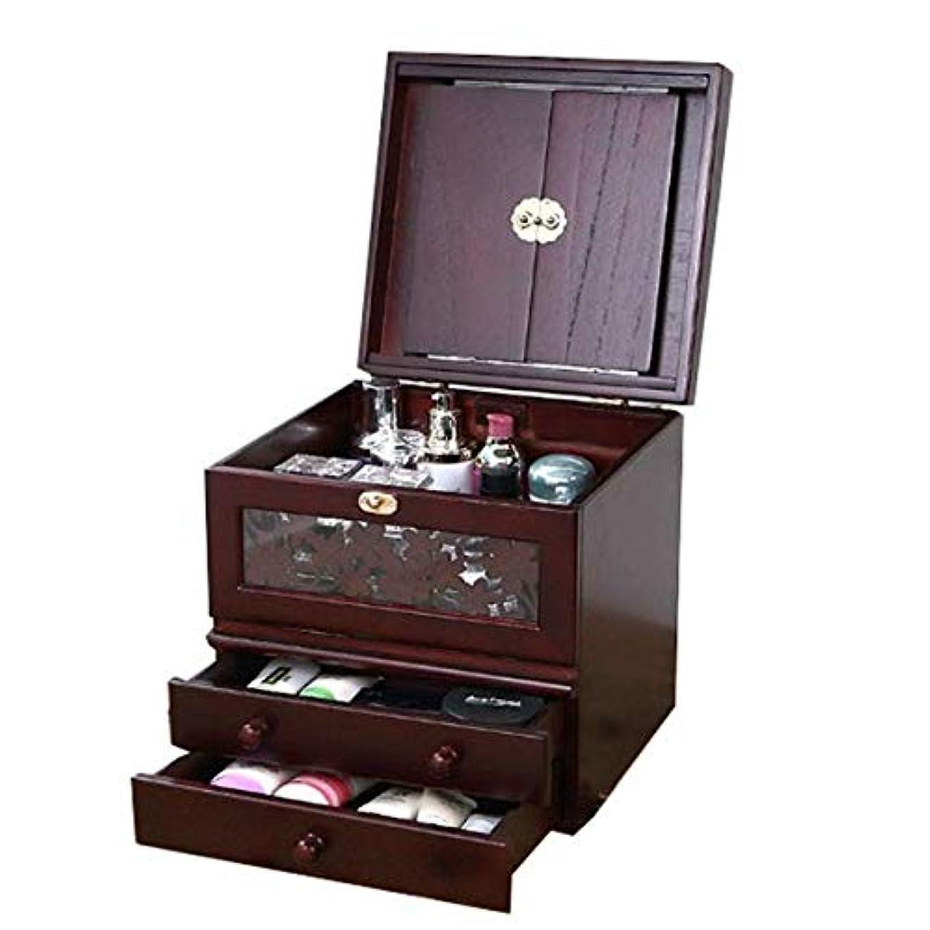 いじめっ子味わう毎日化粧箱、ミラー付きヴィンテージ木製化粧品ケースの3層、ハイエンドの結婚祝い、新築祝いのギフト、美容ネイルジュエリー収納ボックス