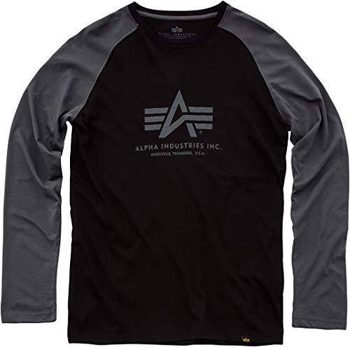 Alpha Industries Herren Langarmshirt, Größe:M;Alpha Industries Farben:Black/Greyblack
