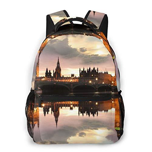 MEJX Mochila Paquete de Almacenamiento,Big Ben por la noche, Londres, Reino Unido.,Casual Bolsa de Estudiantes de la Escuela Mochila Portátil de Viaje
