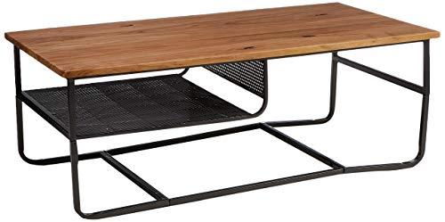 Amazon Marke - Rivet - Couchtisch mit Regalboden aus Metall, 110x60cm, Ulme/Schwarzes Metallgestell