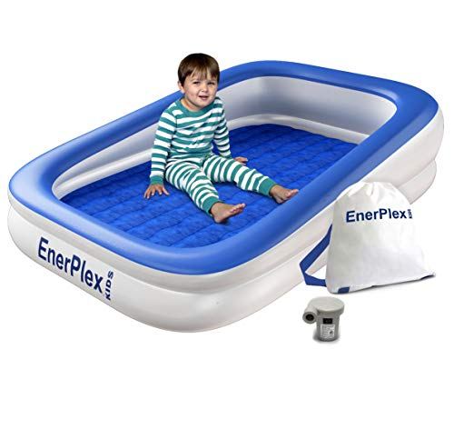 EnerPlex Kids Inflatable Toddler Travel Bed with High Speed Pump, Portable Air Mattress for Kids, Blow up Mattress with Sides – Built-in Safety Bumper - Blue 2-Year Warranty