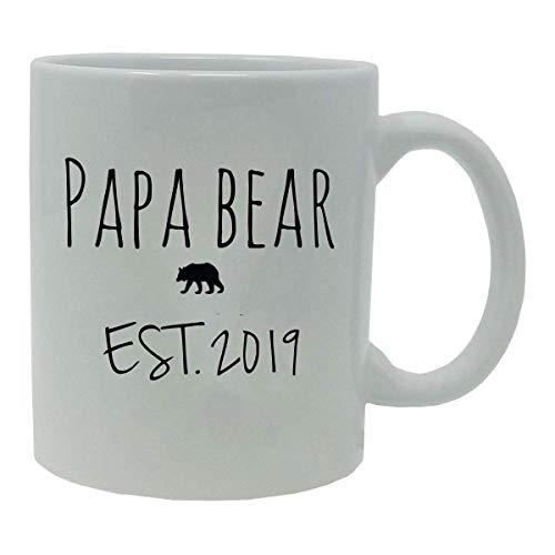 N\A Papa Bear estableció EST. 2019 Taza de café de cerámica de 11 onzas con Caja de Regalo, Color Blanco