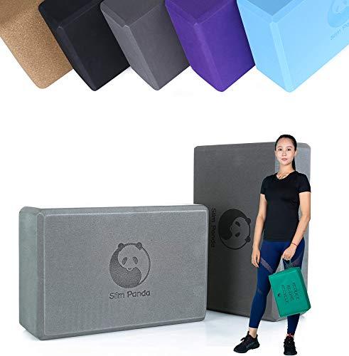 Slim Panda Foam Yoga Block Set of 2 Firm Sturdy Non Slip EVA Eco Blocks with Cover Bag, 9x6x3 Inch,...