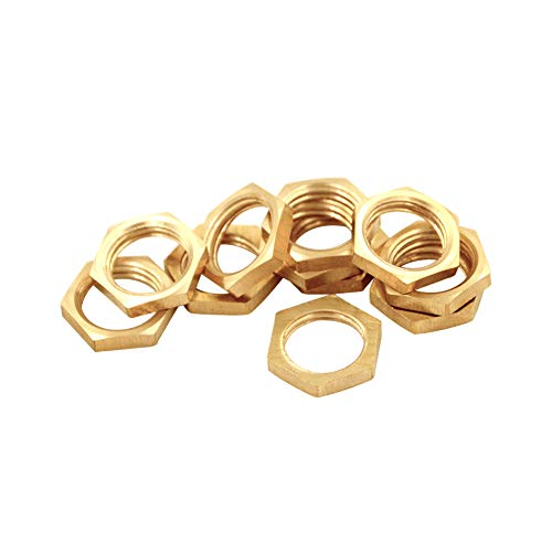 Joywayus 1/2' Female Thread Brass Pipe Fitting Hex Lock Nut For Plumbing fixed (Pack Of 10)