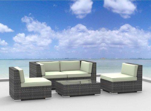 Hot Sale Urban Furnishing - RIO 5pc Modern Outdoor Backyard Wicker Rattan Patio Furniture Sofa Sectional Couch Set - Beige