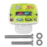 [4 unidades] Tirador de puerta de cristal colorido para armario, armario, cajón, elementos de botón de arcade