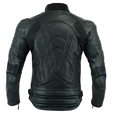 Men,s MOTORCYCLE ARMOURED PERFORATED LEATHER [NATURAL GRAIN] WITH EXTERNAL ARMOURS BLACK JACKET MBJ-1728A (XL) by Leather Teknik
