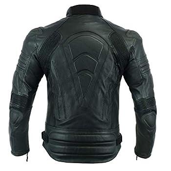 LeatherTeknik MBJ-1728A Veste de moto renforcée en cuir pour hommes avec renfort extérieur - Noir