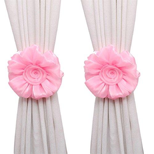 Amcool 1 Paar Rose Blume Vorhang Raffhalter Schnalle Spannhaken Verschluss Curtain Tieback (rosa)