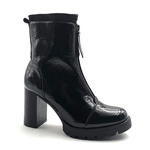Angkorly - Damskie buty botki - Biker - Biker - Punk - Lakierowane - zamek błyskawiczny obcas blokowy wysoki obcas, 9 cm, czarny - czarny - 41 EU