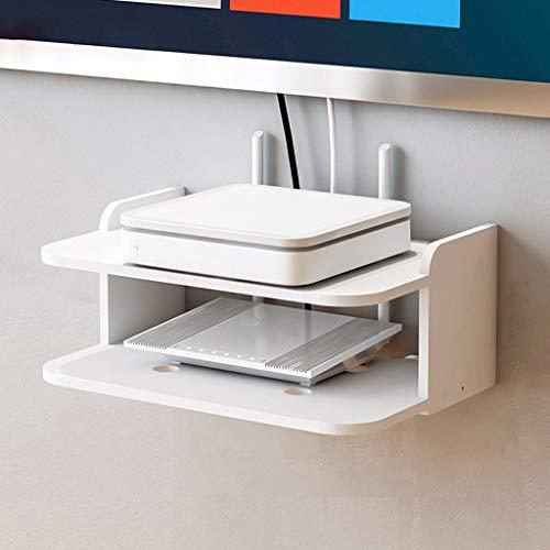 WiFi Router Set Top Box TV Afstandsbediening Opslag Plank Wandmontage TV Plank Wandplank Zwevende Plank Kleine Plank Wit
