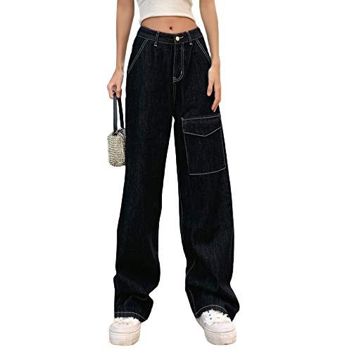 YGG Damen Cargohose mit Taschen Schwarze Cargohose Damen mit Hoher Taille Baggy Ganzkörperige Freizeithose Passform und Mittlerer Umhängetasche und Pattentasche (Black, M)