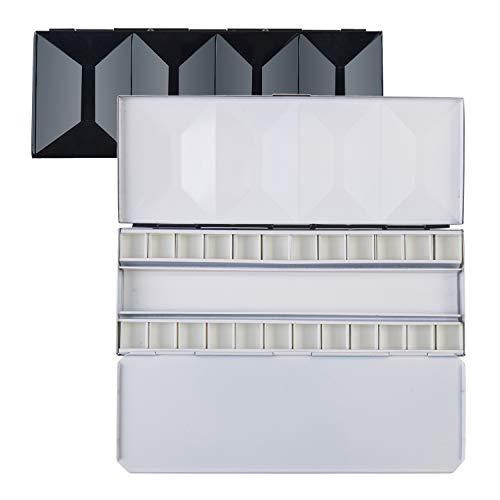 MEEDEN Heavyweight Enamel Watercolor Palette Box, Compact Folding Metal Watercolor Palette, Travel Friendly Artist Palette Tin Case with 24 Half Pans