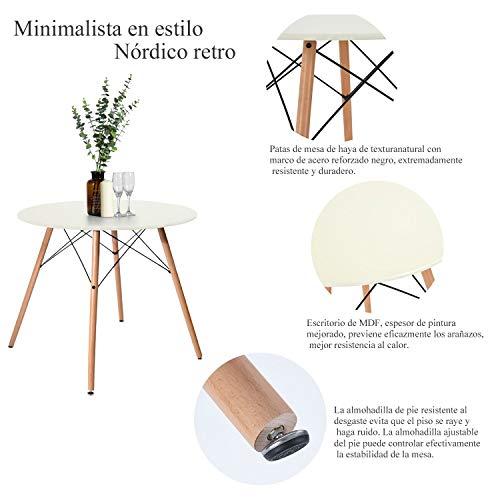 FurnitureR Eames Mesa de Comedor para 4 Personas Mesa de Comedor Redonda Blanca Cocina Moderna Ocio Mesa…