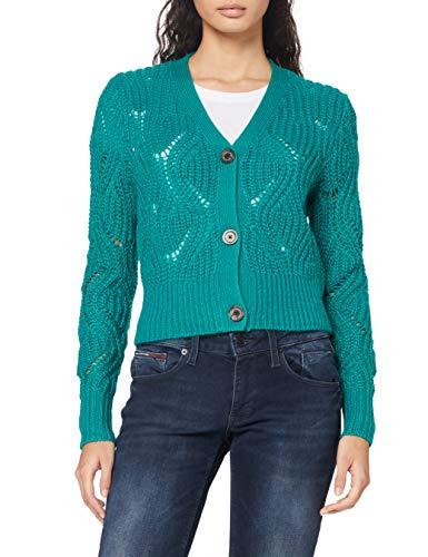 Tommy Jeans Damen Tjw Pointelle Cardigan Pullover, Midwest Green, XL