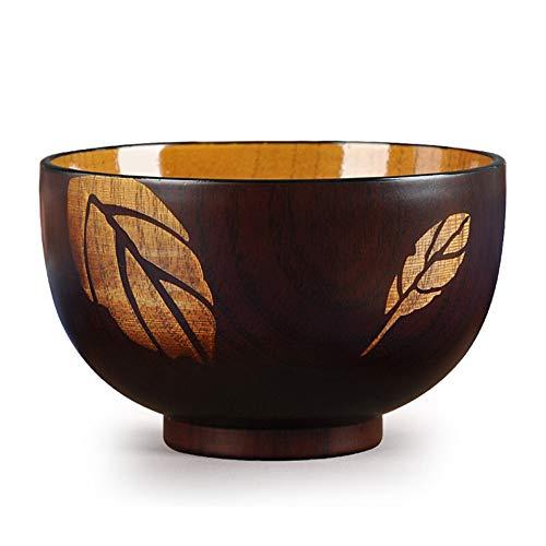 ZH Bol en bois japonais, grain de bois jujube naturel adulte enfant pasta bol de soupe brun 11 * 6.7cm
