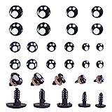 PandaHall 100 ojos de muñeca de plástico de 5 tamaños, ojos de juguete negros de seguridad a media vuelta ojos artesanales con arandelas para muñeca, fabricación de peluche