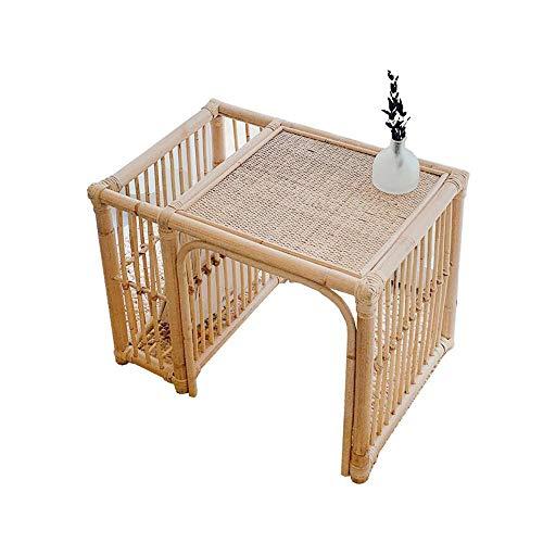 Jcnfa-Tables Rotin End Table/Porte-revues, rotin extérieur Table Patio de la Piscine Pelouse de Jardin, Table Basse Table d'appoint Permanent, (Color : Rattan, Size : 21.65 * 15.74 * 15.74in)