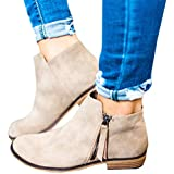 Mafulus Womens Ankle Boots Round Toe Faux Leather Stacked Low Heel Side Zipper Winter Booties