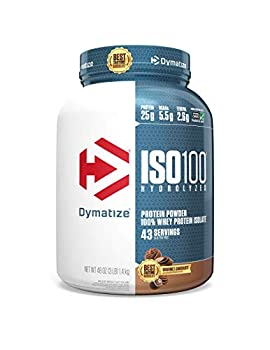Dymatize ISO100 Hydrolyzed Protein Powder 100% Whey Isolate Protein 25g of Protein 5.5g BCAAs Gluten Free Fast Absorbing Easy Digesting Gourmet Chocolate 3 Pound