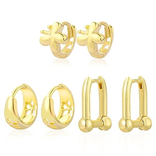Shinyyep 3 Pairs 14K Gold Plated Small Hoop Earrings Set for Women, Chunky Gold Hoops Earrings Hypoallergenic Butterfly Earrings Huggie Earrings for Women Girls