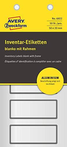 AVERY Zweckform 6922 Aluminium Inventaretiketten (selbstklebend, witterungsbeständig und fälschungssicher, 50 x 20 mm, 50 Aufkleber auf 10 Blatt) silber/schwarz