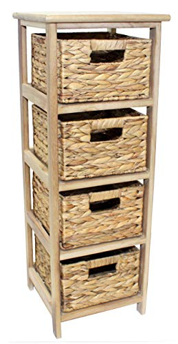 Home-ever Natural Wood 4 Drawer Chest, Bedroom or Bathroom Storage Unit HE21