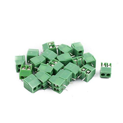 sourcing map 20 Stück AC300V 10A 2P Schraube PCB Schraubklemme Grün 3,5mm Tonhöhe de