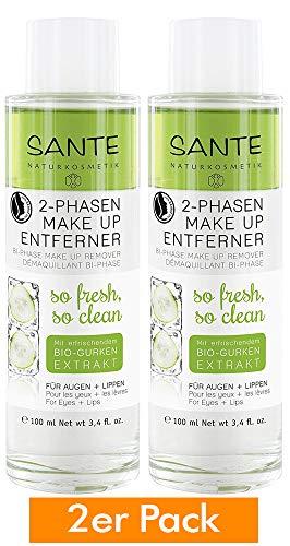 SANTE Naturkosmetik 2 Phasen Makeup Entferner, Entfernt Augen- & Lippen-Make-up, Vegan, Sanft & Mild, Bio-Öle, entfernt wasserfestes Make up, 2x100ml Doppelpack